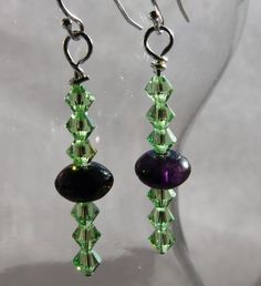 These are pretty cool. If I were going to make earrings like this, I probably would've put the bigger beads at the bottom, so this will hopefully help me break out of my comfy box a bit. Fluorite & Green Crystal Sterling Silver Earrings