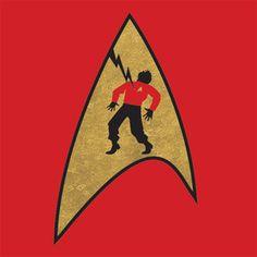 """WARNING: Wearing a red shirt may be dangerous to your health"" t-shirt, $20. #StarTrek"