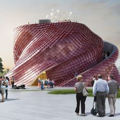 """Daniel Libeskind Milan Expo Pavilion Vanke.....""""sinuous volume with an outer scaly skin""""."""