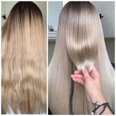Sometimes a good toner can make all the difference in the world. Get the details and formula for this gentle color conversion, from nice blonde to WOW champagne blonde. Toner For Blonde Hair, Blonde Hair Shades, Blonde Hair Looks, Strawberry Blonde Hair Color, Blonde Color, Hair Colour, Blond Beige, Dark Blonde, Champagne Blonde Hair