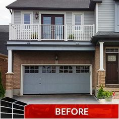 Time to try something new? Upgrading to a rustic wooden door worked great for this customer. Contact us or visit our showroom to see all your options when it comes to upgrading your garage door. Garage Transformation, Extreme Makeover, Wooden Doors, Curb Appeal, Showroom, Garage Doors, Things To Come, House Design, Rustic