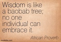 """Wisdom is like a baobab tree; no one individual can embrace it"" - an African Proverb Wise Quotes, Wise Sayings, Words Of Wisdom Love, Baobab Tree, African Proverb, Creativity Quotes, Proverbs, Thoughts, Reading"