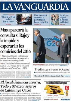 Los Titulares y Portadas de Noticias Destacadas Españolas del 6 de Septiembre de 2013 del Diario La Vanguardia ¿Que le pareció esta Portada de este Diario Español?