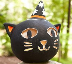 """Black Cat Luminary ~ 17""""w x 15""""d x 18""""h papier-mâché cat face (so for flameless candles only) ~ $79 