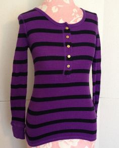 J Crew Purple Blue Striped Button Long Sleeve Waffle Cotton Stretch Shirt XXS #JCrew #Blouse #Casual