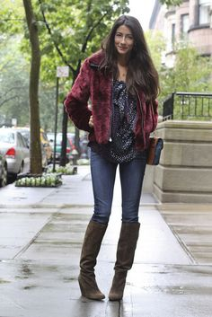 """Jacket: Express, Top: c/o TJ Maxx, Jeans: Hudson, Shoes: c/o Nine West,  Bag: c/o Lulus.com, Earrings: Tiffany, Necklace: Sogno  I'm breaking a few """"rules"""" today. Faux fur and new suede boots should  definitely be shelved until the sun comes out but I'm taking my chances  anyway. I went on a bit of a crazy shopping extravaganza this weekend (so  unlike me because I usually just like to buy things here and there) and I  saw this crazy cranberry faux fur jacket that had no choice but to come…"""