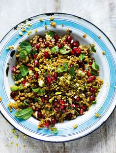 Freekeh Salad recipe from Rick Stein's brilliant cookbook From Venice to Istanbul. Perfect as an accompanying pilaf or summer side salad, this Middle-Eastern inspired treat is flavoured with pomegranate seeds, pistachios, mint and spring onion.