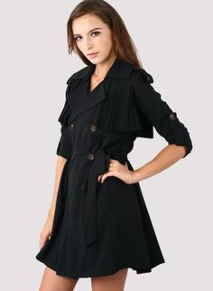 """Black Double Breasted Trench Coat with Pleated Detail. It had me at """"black."""" You can never have too much black. &"""