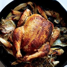 A beautifully browned bird and seasonal vegetables cook in a single skillet for an effortless dinner. Swap in carrots, quartered onions, or tiny potatoes—anything goes.