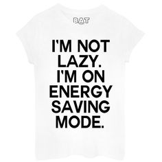 Lazy Tee (120 AED) ❤ liked on Polyvore featuring tops, t-shirts, shirts, tees, print shirts, cotton shirts, white tee, white t shirt and white shirt