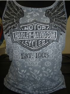 Love the pattern on this Harley shirt! Buy online at: http://www.planetharley.com/Harley-Davidson-Wome-s-Sleeveless-Avenues-Tank-p/09r5821.htm?1=1=0