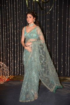 Glamorous Indian Model Anushka Sharma In Green Saree Indian Bridal Outfits, Indian Fashion Dresses, Dress Indian Style, Bridal Lehenga, Lehenga Choli, Anarkali, Sabyasachi Sarees, Bollywood Saree, Bollywood Fashion