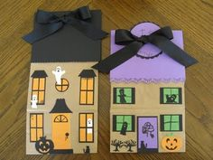 DIY - Haunted House Paper Bags (Source : http://mypaperpony.blogspot.fr/2009/10/halloween-paper-bags-three-ways.html) #halloween #decor #diy #kids