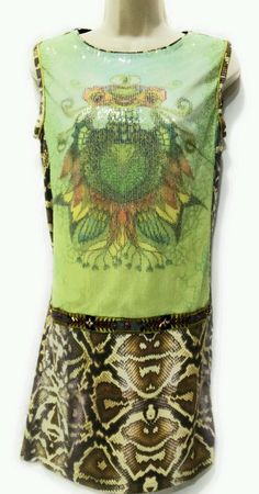 Custo Barcelona Dress Gata Lime Sequin Snake Print Sleeveless Cocktail Club Sz2  | Clothing, Shoes & Accessories, Women's Clothing, Dresses | eBay!