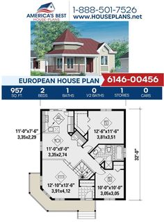Check out the front porch on this European design! Plan 6146-00456 offers 957 sq. ft., 2 bedrooms, 1 bathroom, a covered porch, and an open floor plan. Visit our website for more details about this European design. #houseplans #newhome #buildahome European Plan, European House Plans, Best House Plans, Dream House Plans, Building Section, Building A House, Floor Plan Drawing, Construction Cost, Build Your Dream Home