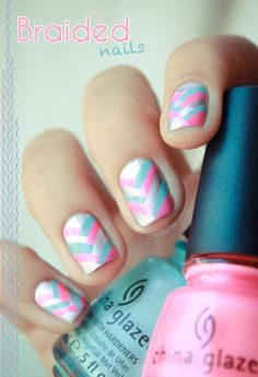 Pink, blue and white braided nail art.