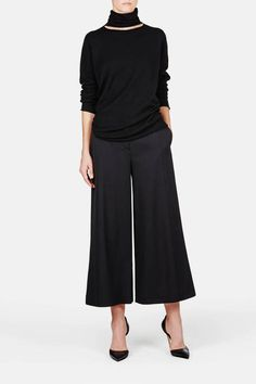 Proenza Schouler — Cropped Wide Leg Pant Black — THE LINE