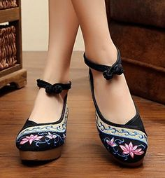 Women's Old Peking Chinese Style Flower Embroidery Wedges