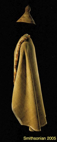 """Nuu-chah-nulth whaler's hat made from spruce root, cedar bark, surf grass; high-status woman's rain cape made from cedar bark with sea otter edging. {""""Listening to Our Ancestors: The Art of Native Life Along the North Pacific Coast."""" Washington, DC: Smithsonian, 2005. Print.}"""