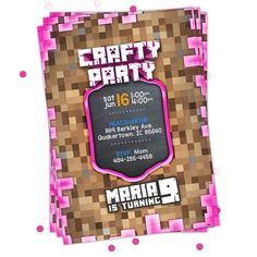 Minecraft Invitations, Printable Minecraft Birthday Party Invitions for Girl. Minecraft Party Supplies, Minecraft Birthday Invitations, Minecraft Party Decorations, Girls Party Decorations, Minecraft Birthday Party, Happy Birthday Banners, Diy Birthday, Birthday Party Invitations, Birthday Parties