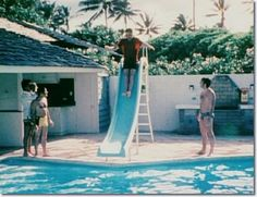 Elvis Presley and Tom Jones at Elvis' home, Swimming pool - at his holiday home in Hawaii