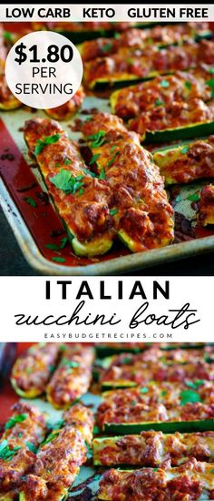 This Easy Italian Zucchini Boats Recipe Is Easy To Make And Healthy, Too At Just 240 Calories Per Serving. This Recipe Is Gluten-Free, Low Carb, And Keto. Additionally It Costs Just For 6 Servings Zucchini Boat Recipes, Zucchini Boats, Healthy Zucchini, Healthy Steak, Recipe Zucchini, Healthy Eats, Easy Dinner Recipes, Fall Recipes, Easy Meals