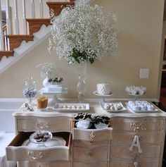 Dessert table - look at the bouquet of baby's breath - fabo!