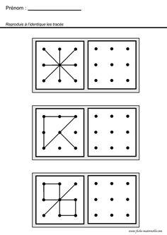 Conecte pontos e crie as formas. Inspire-se nesses exemplos! | Reab.me Visual Motor Activities, Visual Perceptual Activities, Kindergarten Math Activities, Kindergarten Worksheets, Worksheets For Kids, Sudoku, Math Groups, Numbers Preschool, Math For Kids