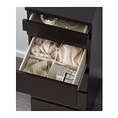 IKEA - MALM, Chest of 6 drawers, black-brown/mirror glass, , Built-in…
