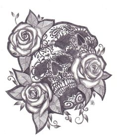 sugar skull tattoo i gotta draw this... tonight.. i need some get away from the worldly thoughts and clear out all unnecessary stress
