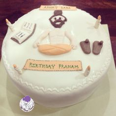 Themed Cakes - Yogi Themed Birthday Cake | All Things Yummy #meditation #guru #yogi #candles #scripturebook #book #innerpeace #chocolatecake #fondantcake #customisedcake #birthdaycake #happybirthday #yogapose #atyummy #woodensandals
