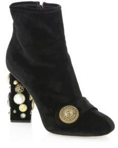 f0e7882420a3 Dolce   Gabbana - Embellished Velvet Button Booties