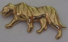 Vintage Monet signed gold-tone tiger brooch pin - 2.75 inches
