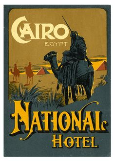 National Hotel Cairo luggage label