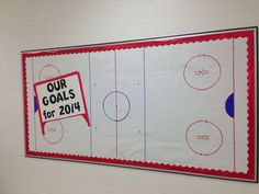 New Years/hockey day in Canada bulletin board. Students wrote their New Years resolutions on pucks! Sports Bulletin Boards, Sports Theme Classroom, Teacher Classroom Decorations, Classroom Jobs, Classroom Bulletin Boards, Classroom Organization, 6th Grade Ela, Fourth Grade, Teacher Boards
