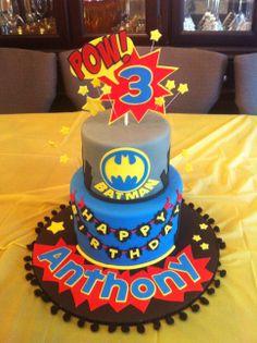 Batman - Batman cake for a 3 year olds birthday.