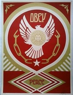 Obey Giant Peace and Freedom 2014 Holiday by Shepard Fairey 18x24