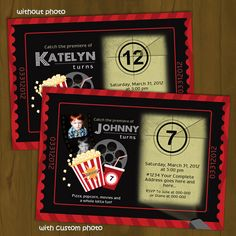 CINEMA TICKET OR MOVIE THEATER PRINTABLE BIRTHDAY INVITATION - A theater themed party becomes exciting with a movie night themed invitation that looks like a ticket and features the announcement on a movie reel projector! It works for both male and female gender, as well as kids, teens and adults!GET THE COMPLETE PACKAGE!An entire coordinating set (Splashbox's BIGGEST package, in fact) for this invite is now available!