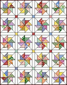 Love this quilt block pattern. Pinwheel 8 at Quilters Cache. Free Pattern - Pinwheel by Marcia Hohn Just enlarge the block or add enough blocks to make larger. Olivia and Philip quilt with fabric some fancy pinwheels. Star Quilts, Scrappy Quilts, Easy Quilts, Quilt Blocks, Quilting Tutorials, Quilting Projects, Quilting Designs, Quilt Patterns Free, Pattern Blocks