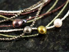 långa halsband med solitär pärlor - long necklace with solo pearls