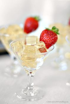 Champagne jello squares; party food; Toast your celebration with sparkling wine jello squares for a fun twist at the party; New Years Eve party food