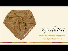 Shawl (chal) o punta tejida en telar triangular con borde en dos agujas - YouTube