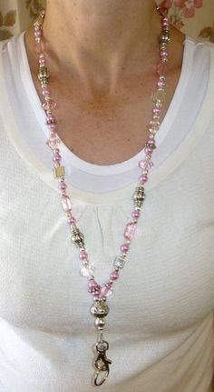 Slim Pink Fashion Women's Beaded Lanyard 34 inches, Key and badge holder