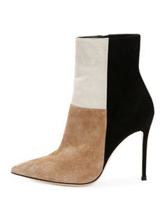 S0BCX Gianvito Rossi Patchwork Suede Ankle Boot