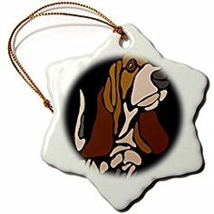 Basset Hound Puppy Dog Abstract Art - 3 inch Snowflake Porcelain Christmas Ornament