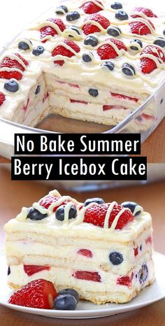 No Bake Summer Berry Icebox Cake - Dessert & Cake Recipes - Essensrezepte - Desserts Easy Summer Desserts, Summer Dessert Recipes, Summer Cakes, Dessert Cake Recipes, Easy Cake Recipes, Mini Desserts, Baking Recipes, Holiday Recipes, Light Desserts