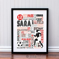 Girls Personalized Soccer Typography Poster Art - Coachs Gift - Soccer Team Print via Etsy
