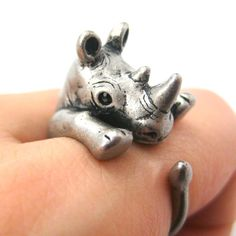 Rhino Rhinoceros Animal Wrap Around Ring: Silver Size 5 - 10