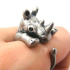Rhino Rhinoceros Animal Wrap Around Ring in Silver - Size 5 to 10 $12.50.   so cute!