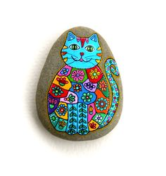 Hand Painted Stone Cat por ISassiDellAdriatico en Etsy